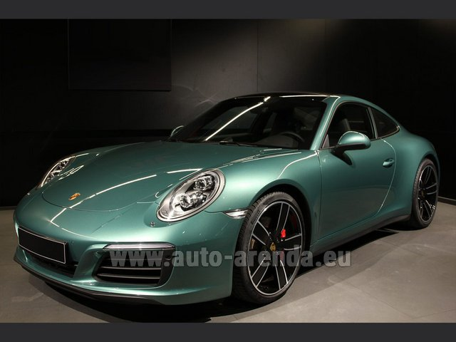 Hire and delivery to Zurich airport the car Porsche 911 991 4S Racinggreen Individual Sport Chrono